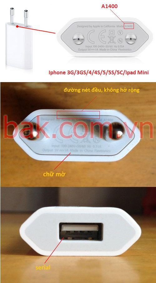 Sạc Iphone của Việt Nam - Châu Âu