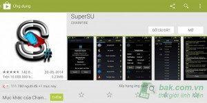 vào CH Play tìm ứng dụng SuperSU